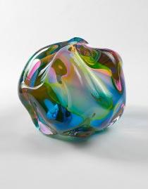 Glasobjekt regenbogenfarben